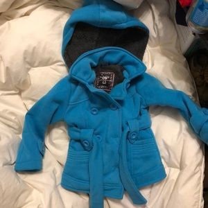 Adorable girls jacket, 2t, teal with soft furr